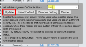 Update OrgSettings - Assign Security Roles to Disabled Users