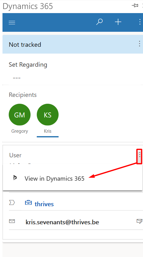 Dynamics 365 App for Outlook - View in Dynamics