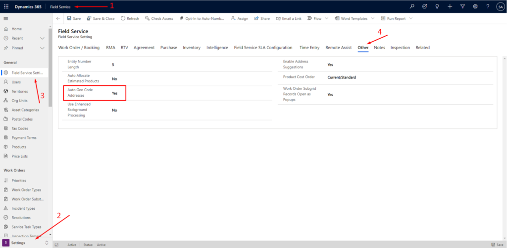 Enable automatic geocoding for Dynamics 365 Field Service